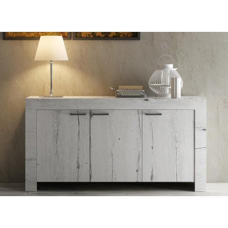 Buffet design bois chêne blanchi 3 portes