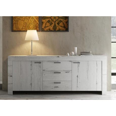 Buffet design bois chêne blanchi 2 portes et 3 tiroirs