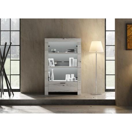 Meuble vitrine chêne blanchi 2 portes en verre et 1 tiroir