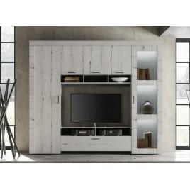 Paroi TV bois chêne blanchi 2m58