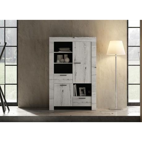 Argentier contemporain chêne blanc 2 portes et 2 tiroirs