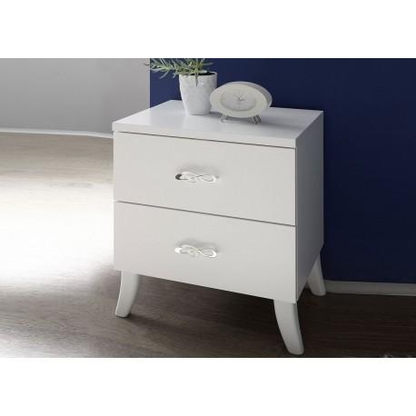 Table de chevet blanc 2 tiroirs