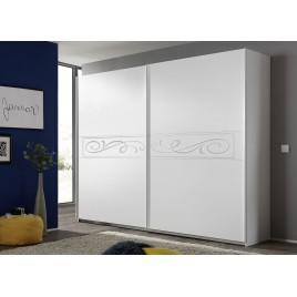 Armoire blanche 2 portes coulissantes sérigraphiées 2m20