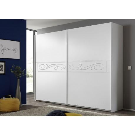 Armoire blanche 2 portes coulissantes sérigraphiée 2m20