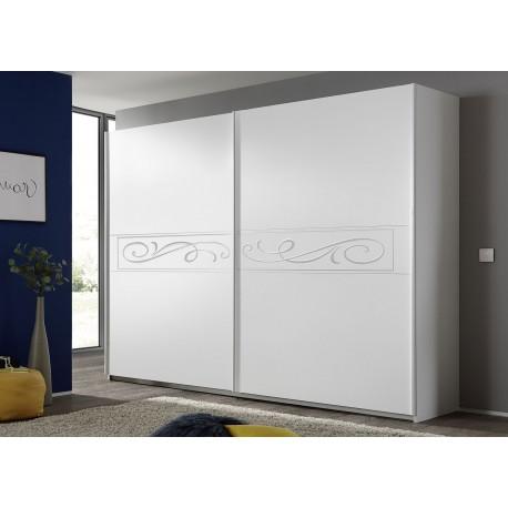 Armoire blanche 2 portes coulissantes sérigraphiées 2m75