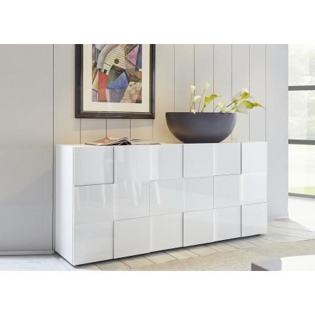 Meuble buffet design blanc laqué 3 portes 181 cm