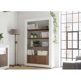 Bibliothèque meuble étagère blanc laqué et noyer 190 cm