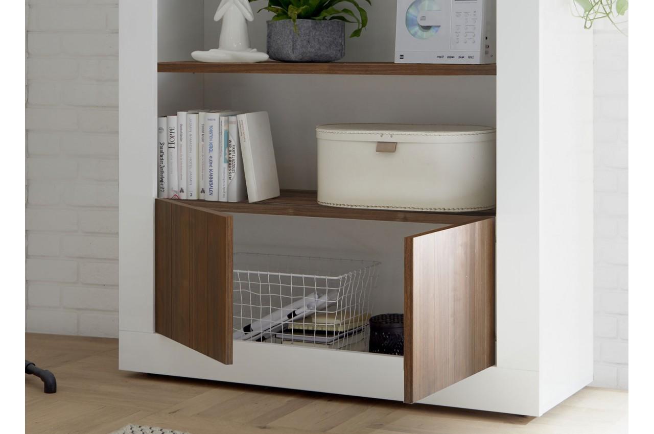 biblioth que meuble tag re blanc laqu et noyer 190 cm. Black Bedroom Furniture Sets. Home Design Ideas