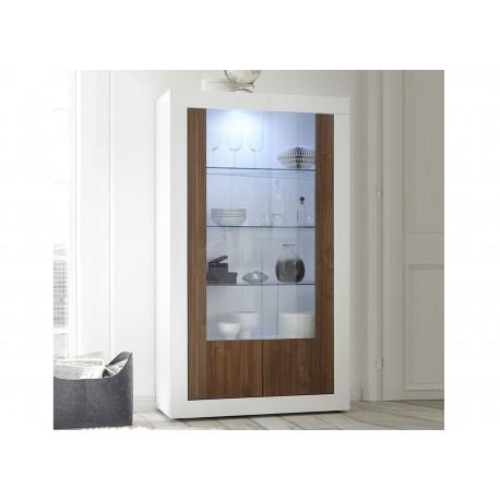 Meuble vitrine design blanc laqué 2 portes verre et bois noyer