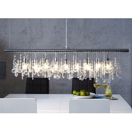 Suspension cristal moderne et métal chromé 120 cm