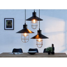 Suspension industrielle noire 3 lampes