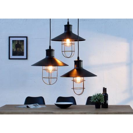 Suspension industrielle noire 3 lampes