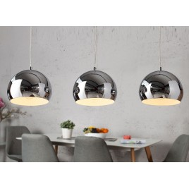 Suspension luminaire design boule chromé