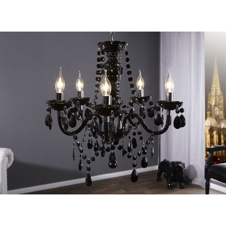 Lustre luminaire baroque noir