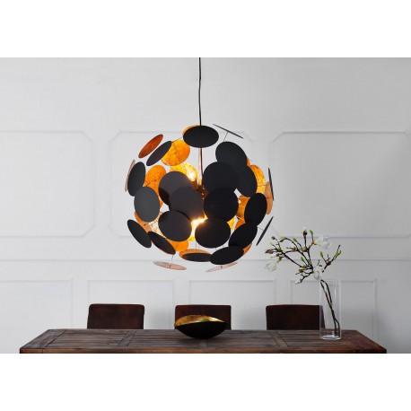 Suspension design moderne boule noir et doré
