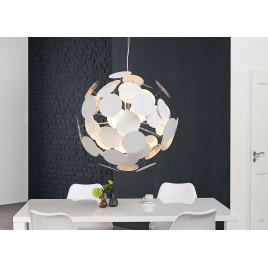Suspension design boule blanche et argent Ø 70 cm