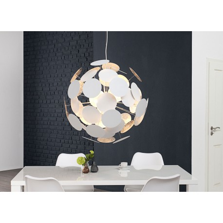 Suspension design moderne boule blanche et argent Ø 70 cm