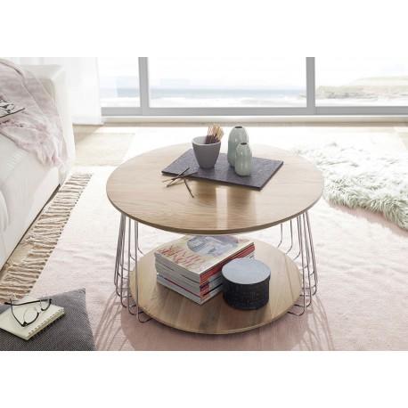 Table basse industrielle bois massif et métal chromé