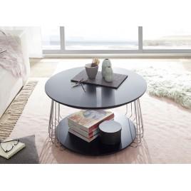 Table basse industrielle noir laqué mat et métal chromé