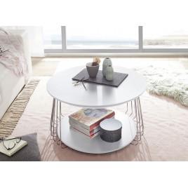 Table basse industrielle blanc laqué mat et métal chromé