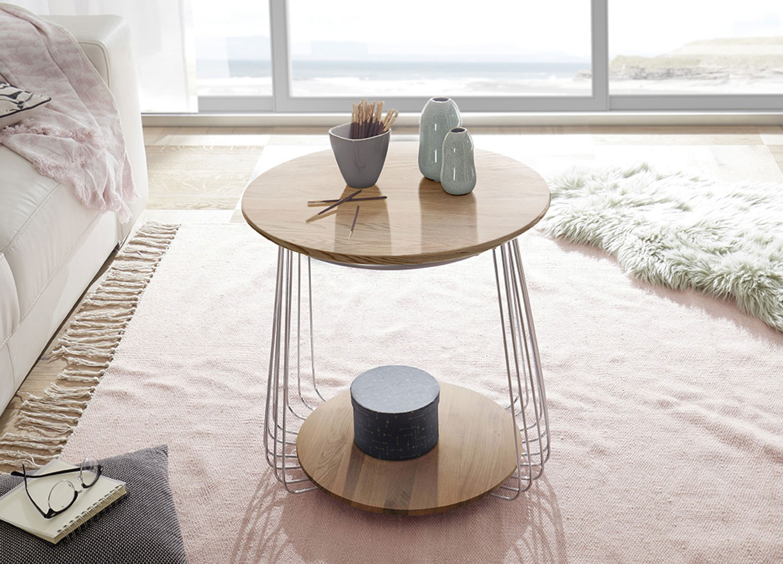 Table basse moderne chêne massif et métal chromé