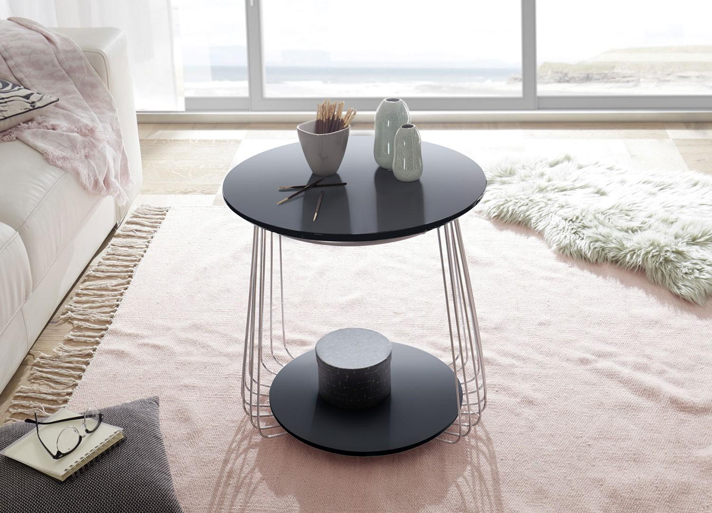Table basse moderne noir laqué mat et métal chromé