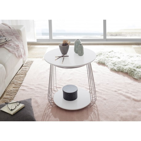 Table basse moderne blanc laqué mat et métal chromé