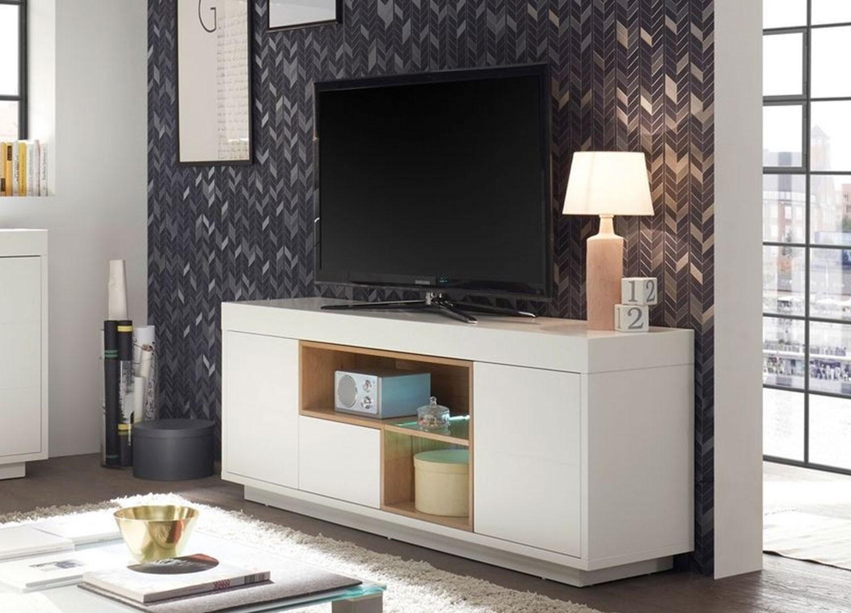 Meuble TV design blanc laqué mat et bois 169 cm