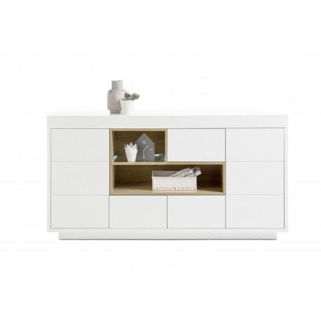 Buffet design blanc et bois 2 portes, 3 tiroirs et niches 169 cm