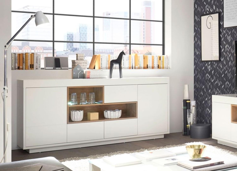 Buffet design blanc et bois 2 portes, 3 tiroirs et niches 169 ou 193 cm