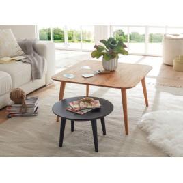 Lot de 2 tables basses chêne massif carrée et ronde anthracite