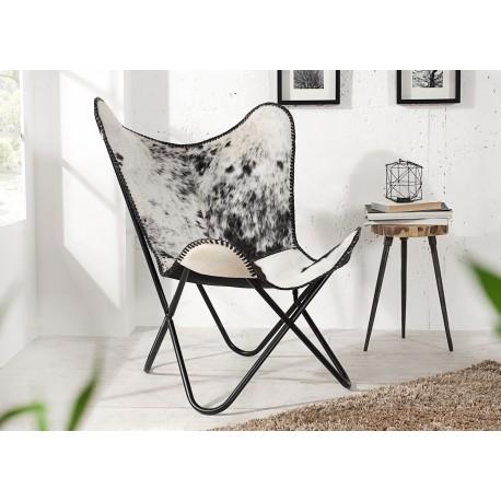 Chaise papillon retro lounge noir et blanc en cuir véritable