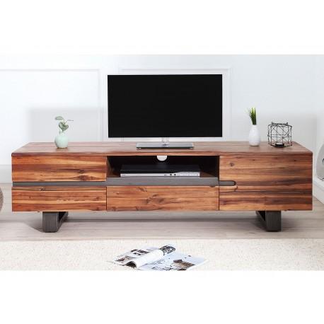 Meuble tv bois massif en acacia pied luge industriel