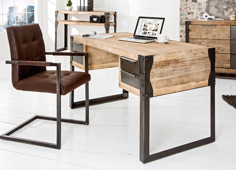 Chambre Adulte Avec Bureau bureau industriel acacia teck gris chaulé - cbc-meubles