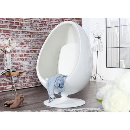 Fauteuil oeuf blanc pivotant avec coussin tissu