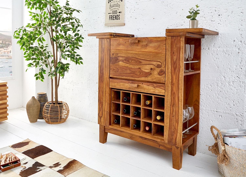 Meuble bar à porte rabattable en bois massif de sesham