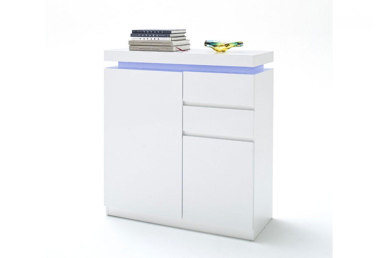 Petit Meuble Range Tout meuble de rangement entrée blanc laqué à led - cbc-meubles