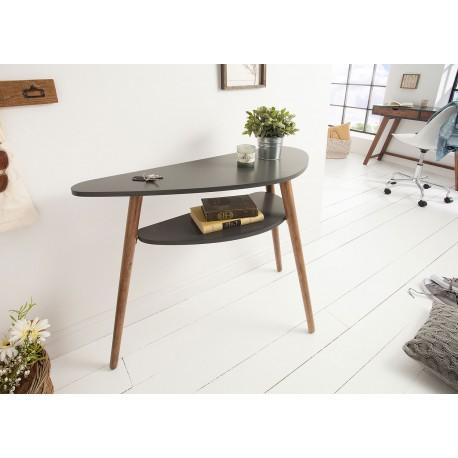 Table console scandinave grise graphite et pieds en bois