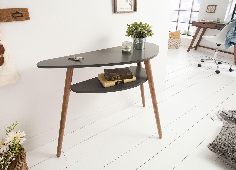 Table console scandinave grise et pieds en bois