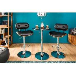 Table de bar ronde noir et métal réglable en hauteur