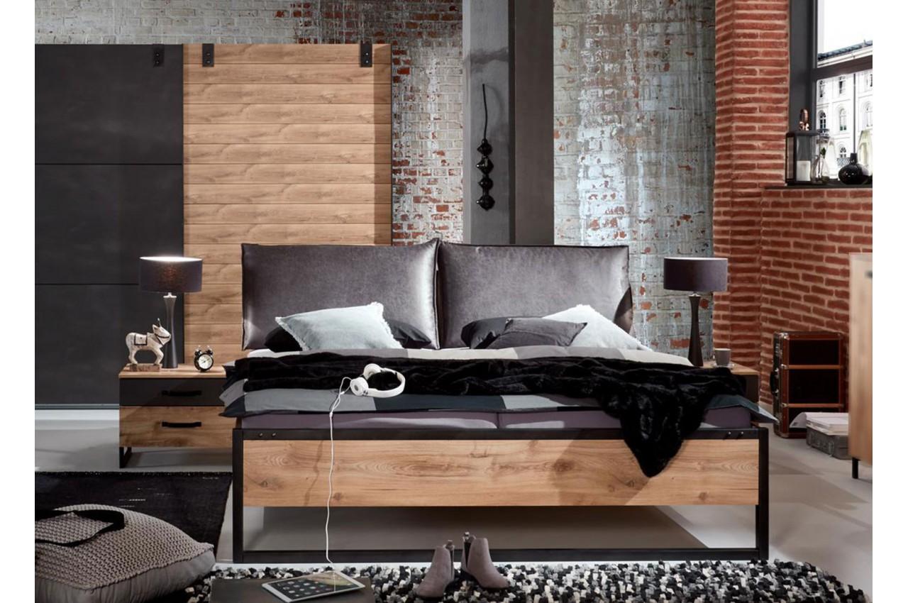 Lit style industriel vintage 160x200 cm - Cbc-Meubles