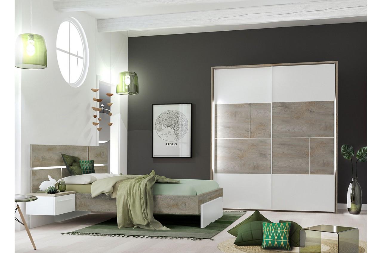 Chambre Blanche Et Bois meubles de chambre adulte blanc laqué mat et bois - cbc-meubles