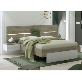 Lit 140x190 cm blanc laqué mat et bois avec chevets suspendus