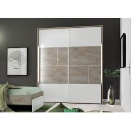 Armoire 2 portes coulissantes blanc laqué mat et bois