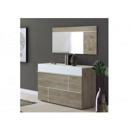 Meuble commode rangement 3 tiroirs blanc laqué mat et bois