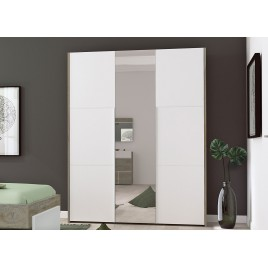 Armoire 3 portes avec miroir blanc et bois
