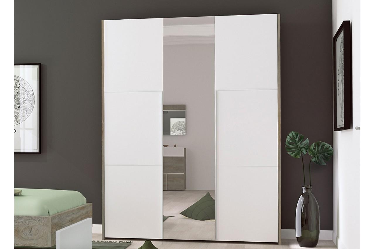 Armoire 3 portes avec miroir blanc et bois cbc meubles - Armoire chambre avec miroir ...