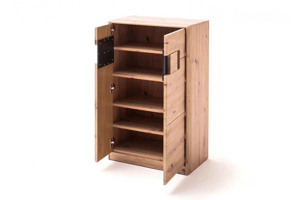 Porte Chaussures En Bois meuble à chaussures 2 portes bois et gris anthracite - cbc