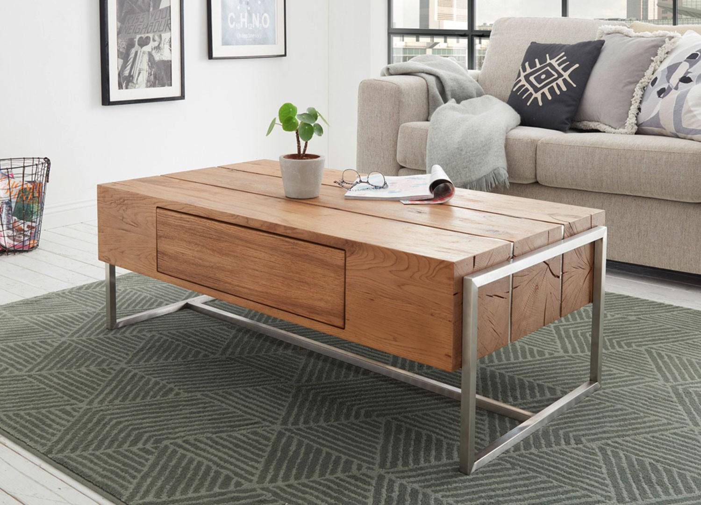 Table basse rectangulaire 1 tiroir pied en acier brossé