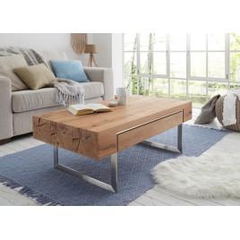 Table basse rectangulaire 1 tiroir à double compartiment pied en acier brossé